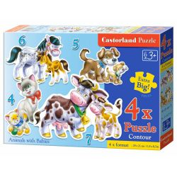 PUZZLE 4W1 ANIMALS WITH BABIES