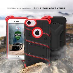 Zizo Bolt Cover - Pancerne etui iPhone 8 / 7 / 6s / 6 ze szkłem 9H na ekran + podstawka & uchwyt do paska (czarny/czerwony)