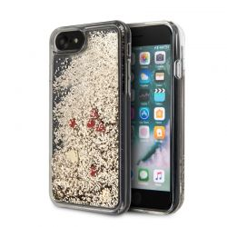 Guess Liquid Glitter Hearts - Etui iPhone SE 2020 / 8 / 7 (złoty/czerwony)