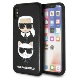 Karl Lagerfeld Embossed Case Karl & Choupette - Etui iPhone Xs / X (czarny)