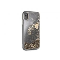 Guess Liquid Glitter Hearts - Etui iPhone XR (złoty)