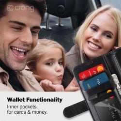 Crong Booklet Wallet - Etui Samsung Galaxy S20 Ultra z kieszeniami + funkcja podstawki (czarny)