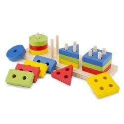 New Classic Toys - Drewniane puzzle z kształtami geometrycznymi