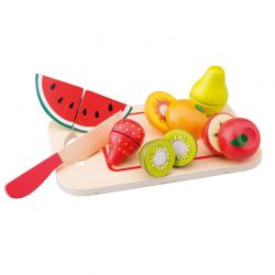 New Classic Toys - Drewniane owoce na desce do krojenia