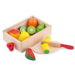 New Classic Toys - Drewniany zestaw owoców do krojenia w pudełku drewnianym