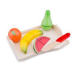 New Classic Toys - Drewniany zestaw do cięcia owoce na tacy