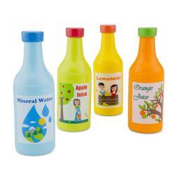 New Classic Toys - Drewniany zestaw 4 butelek do picia
