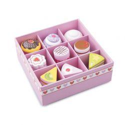 New Classic Toys - Drewniany zestaw ciastek zapakowany w pudełko (9 szt.)