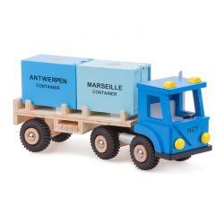 New Classic Toys - Drewniana ciężarówka z 2 pojemnikami