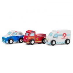 New Classic Toys - Zestaw 3 drewnianych pojazdów