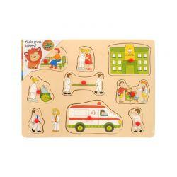 Top Bright - Drewniane puzzle z pinezkami szpital (9 el.)