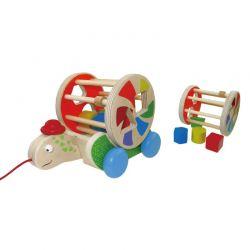 Playme - Drewniana zabawka do ciągnięcia żółw