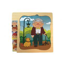 Top Bright - Puzzle warstwowe dziadek, okulary