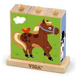 Viga Toys - Drewniana układanka zwierzęta