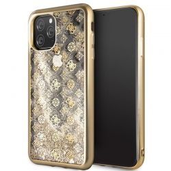 Guess 4G Peony Liquid Glitter - Etui iPhone 11 Pro Max (złoty)