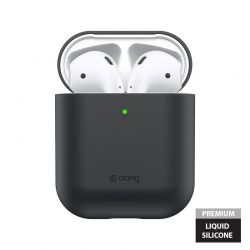 Crong Liquid Case - Etui Apple AirPods 1&2 generacji (czarny)