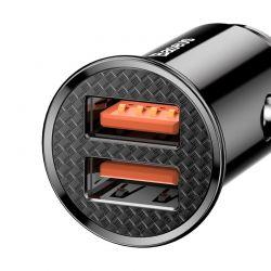 Baseus Circular - Ładowarka samochodowa 2 x USB QC 3.0, 30 W (czarny)