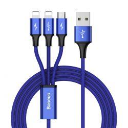 Baseus Rapid - Kabel połączeniowy 3w1, 2 x Lightning + USB + micro USB, 1.2 m (granatowy)