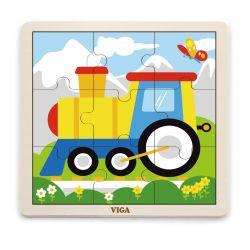 Viga 51446 Puzzle na podkładce 9 elementów - ciuchcia