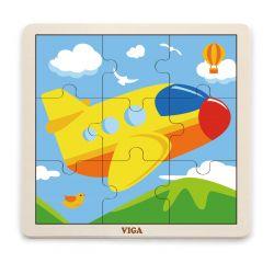 Viga 51447 Puzzle na podkładce 9 elementów - samolot