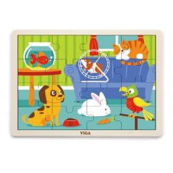 Viga 51453 Puzzle na podkładce 16 elementów - zwierzęta domowe