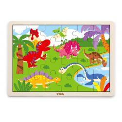 Viga 51460 Puzzle na podkładce 24 elementy - dinozaury