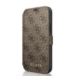 Guess Booktype 4G Charms Collection - Etui iPhone 12 /  iPhone 12 Pro z kieszeniami na karty (brązowy)