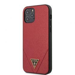 Guess Saffiano V - Etui iPhone 12 / iPhone 12 Pro (czerwony)