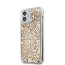 Guess 4G Liquid Glitter - Etui iPhone 12 Mini (złoty)