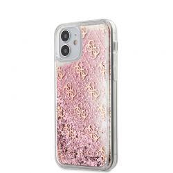 Guess 4G Liquid Glitter - Etui iPhone 12 Mini (różowy)
