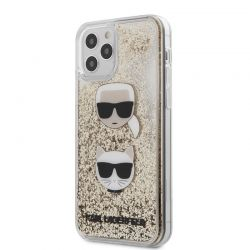 Karl Lagerfeld Liquid Glitter 2 Heads - Etui iPhone 12 / iPhone 12 Pro (złoty)