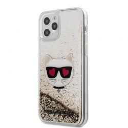 Karl Lagerfeld Liquid Glitter Choupette - Etui iPhone 12 / iPhone 12 Pro (złoty)