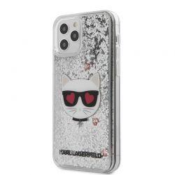 Karl Lagerfeld Liquid Glitter Choupette - Etui iPhone 12 / iPhone 12 Pro (srebrny)