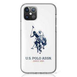 US Polo Assn Big Double Horse Logo - Etui iPhone 12 Mini (biały)
