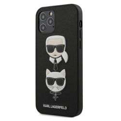Karl Lagerfeld Saffiano Karl & Choupette Heads - Etui 12 / iPhone 12 Pro (czarny)