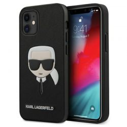 Karl Lagerfeld Saffiano Ikonik Karl`s Head - Etui iPhone 12 mini (czarny)