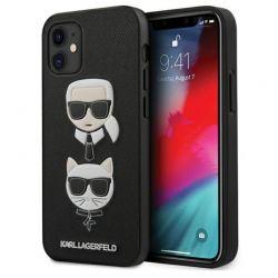 Karl Lagerfeld Saffiano Karl & Choupette Heads - Etui iPhone 12 mini (czarny)
