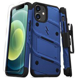 Zizo Bolt Cover - Pancerne etui iPhone 12 Mini ze szkłem 9H na ekran + podstawka & uchwyt do paska (niebieski/czarny)