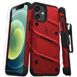 Zizo Bolt Cover - Pancerne etui iPhone 12 Mini ze szkłem 9H na ekran + podstawka & uchwyt do paska (czerwony/czarny)