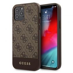 Guess 4G Bottom Stripe Collection - Etui iPhone 12 / iPhone 12 Pro (brązowy)
