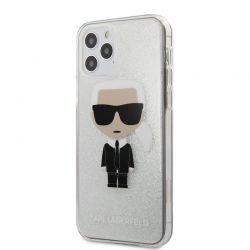Karl Lagerfeld Iconik Glitter - Etui iPhone 12 / iPhone 12 Pro (srebrny)