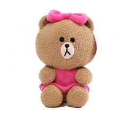 Line Friends - Pluszowa maskotka Miś Choco 17 cm w różowej sukience