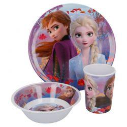 Disney Frozen 2 - Zestaw śniadaniowy z melaminy 3w1 (talerz, miseczka, kubek)