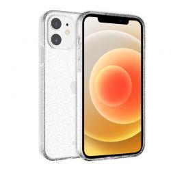 Crong Glitter Case - Etui iPhone 12 / iPhone 12 Pro (przezroczysty/srebrny)