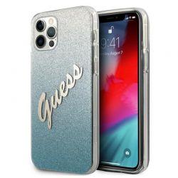 Guess Glitter Gradient Script - Etui iPhone 12 / iPhone 12 Pro (niebieski)