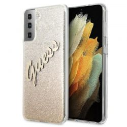 Guess Glitter Gradient Script - Etui Samsung Galaxy S21+ (złoty)