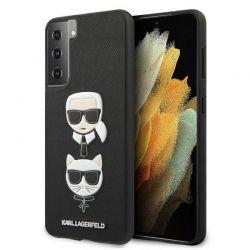 Karl Lagerfeld Saffiano Karl & Choupette Heads - Etui Samsung Galaxy S21+ (czarny)