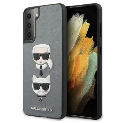 Karl Lagerfeld Saffiano Karl & Choupette Heads - Etui Samsung Galaxy S21+ (srebrny)