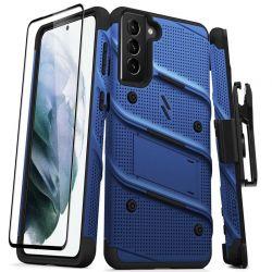 Zizo Bolt Cover - Pancerne etui Samsung Galaxy S21+ 5G ze szkłem 9H na ekran + podstawka & uchwyt do paska (niebieski/czarny)