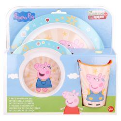 Peppa Pig - Zestaw naczyń z melaminy (talerzyk + miska + kubek)